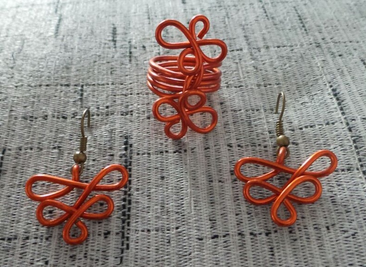 Anillo y pendientes en aluminio naranja