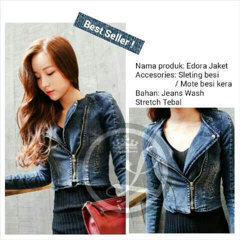 (READY lagi) Edora Jacket Jeans,hrg 94rb,bhn jeans washed asli,strech,ld 86-100 pjg 55,resleting hidup,fit to M