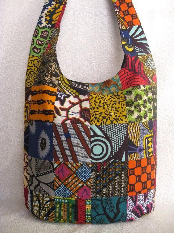 African print patchwork sling bag