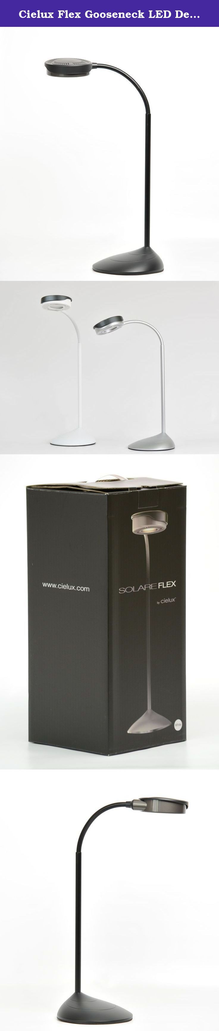 Cielux Flex Gooseneck LED Desk Lamp. SOLARE FLEX LED desk lamp is a unique reinvention of the traditional desk lamp. It features a streamlined body, flexible arm, and intuitive touch controls for ultimate flexibility and usability. In a simple, fluid movement, adjust SOLARE FLEX's bendable arm and manueverable head to point in almost any direction. SOLARE FLEX incorporates Dense Matrix LED technology to emit brilliant CCT tunable light with superior CRI and dimming capabilities. SOLARE…