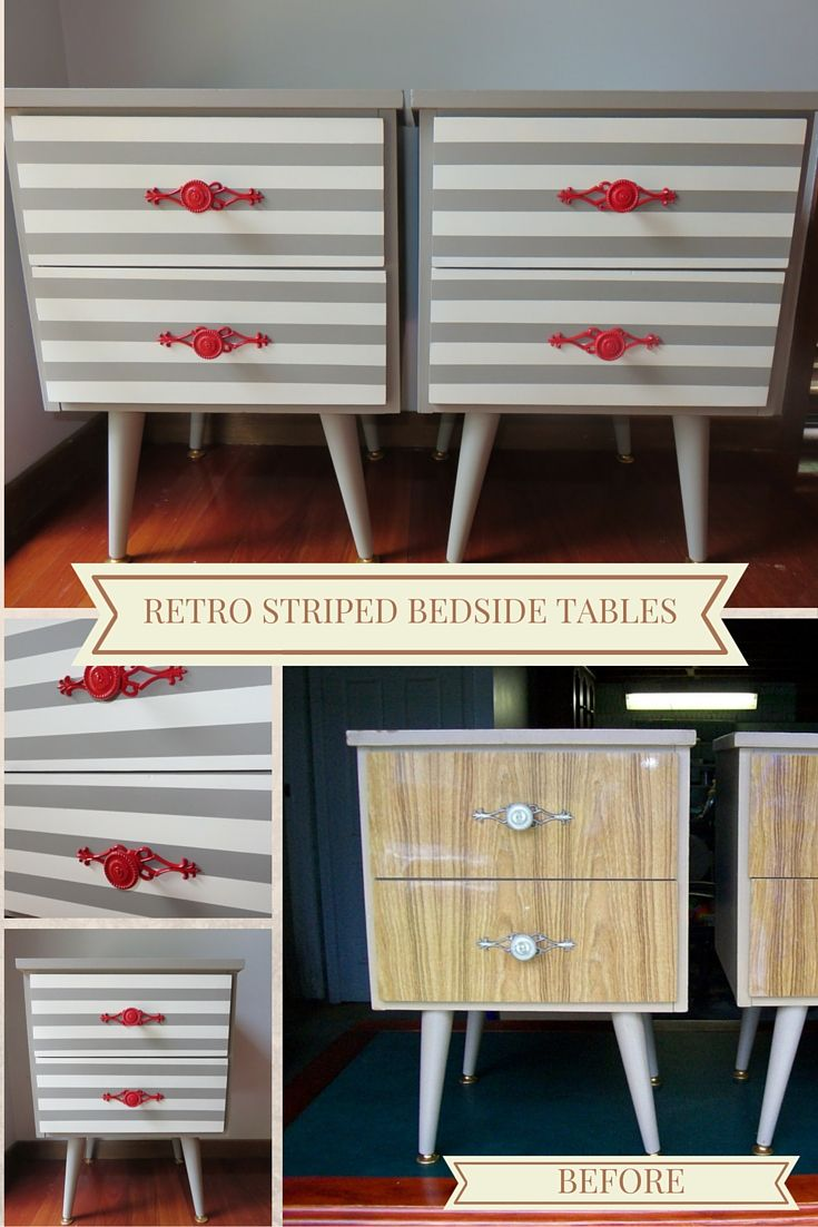 These old retro bedside tables have been updated using a combination of Old White & French Linen chalk paint. Handles sprayed with glossy red paint for a pop of colour.