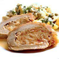 Recept : Vepřová kýta plněná masovou fáší se sýrem, lehký bramborový salát | ReceptyOnLine.cz - kuchařka, recepty a inspirace