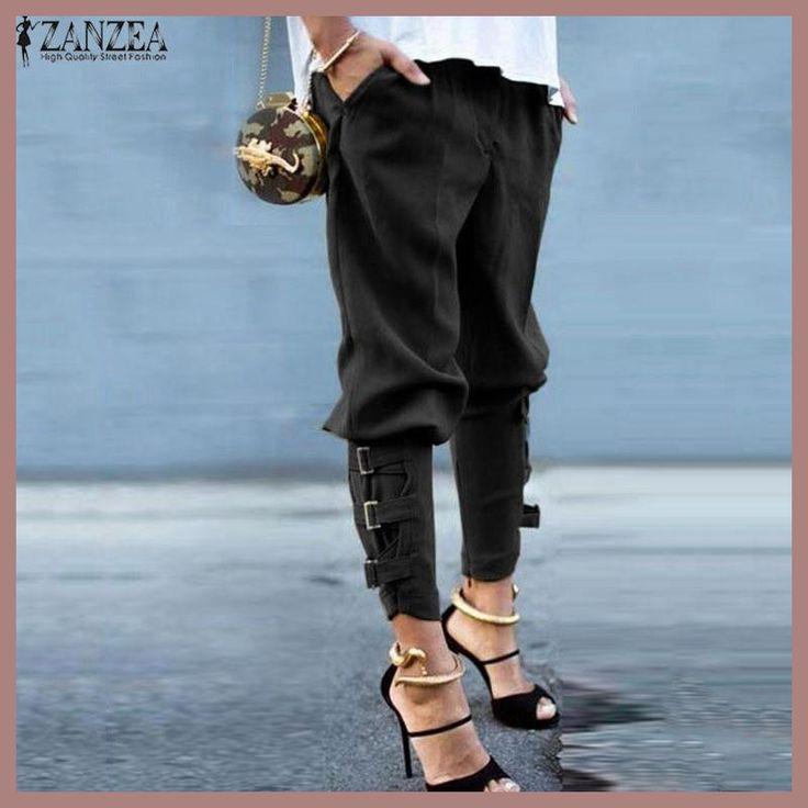 ZANZEA Women 2017 Summer Autumn Women Harem Pants Casual Loose Elastic  Waist Long Pants Leisure Trousers