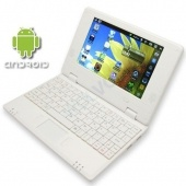Slim and light weight WHITE (Solid White Inside and Outside) mini laptop Android 2.2, 4GB storage... $99.99