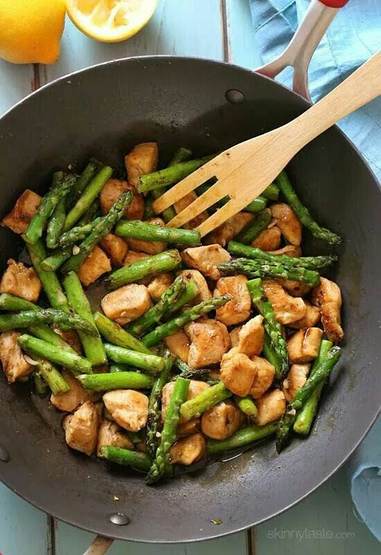 Chicken and Asparagus stir fry. You can also substitute cubed pork meat as well as chicken.