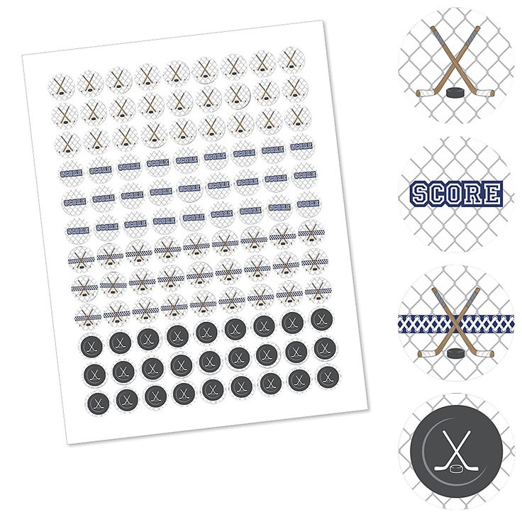 Shoots & Scores! - Hockey - Party Favors Round Baby Shower Candy Labels - Fits Hershey's Kisses - BabyShowerStuff.com