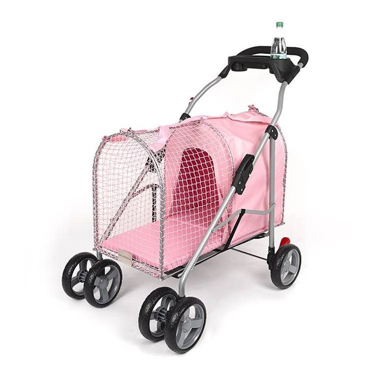 Doubles as stroller and pet carrier. With a durable pink fabric and chrome frame and fittings, plus a cup holder, this stylish stroller will turn heads as you enjoy an outing with your cat or small do