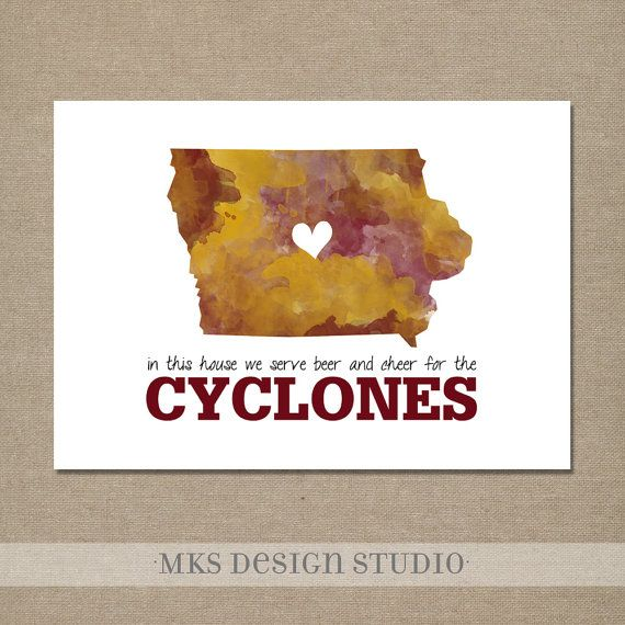 Iowa State Watercolor Print 5x7 Crimson and Gold--In this house we serve beer and cheer for the CYCLONES