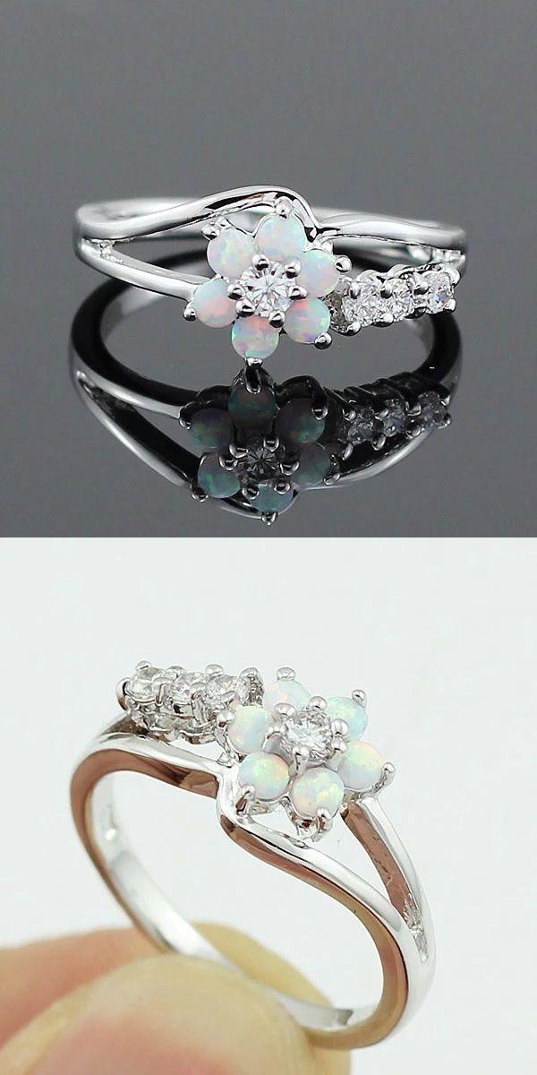 Sterling Silver Opal Flower Ring Pearl Wedding Ring Swarovski Pearls Crystal Necklace