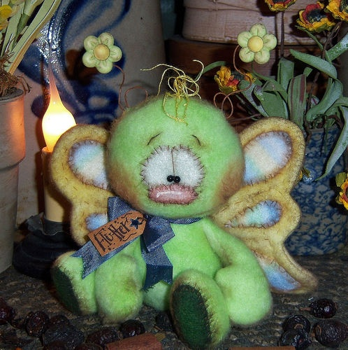 "Primitive Raggedy Spring Bug Butterfly Bear 4"" Doll ★ Vtg Patti's Ratties Ornie"