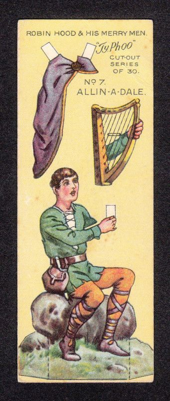 Robin Hood Scarce 1928 Typhoo Tea Paper Doll Card #7 Alan A Dale Minstrel | eBay