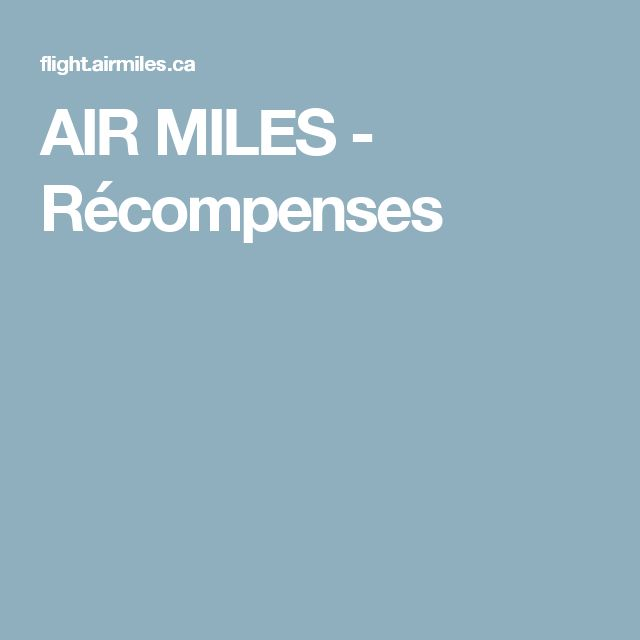 AIR MILES - Récompenses