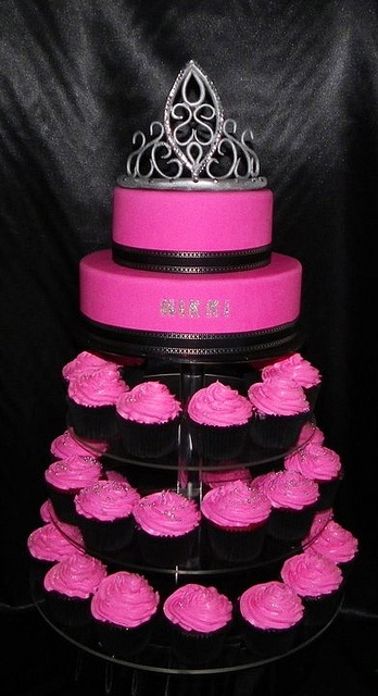 I want to do a hot pink cupcake tower, with the little lingerie string at the top.