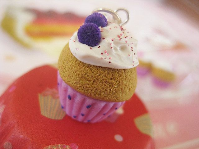 Cupcake with Violet Macaroons Necklace _ French Patisserie_ Polymer Clay _ Foodie Gift _ Food Jewelry _ Cupcake Collection by MarisAlley on Etsy