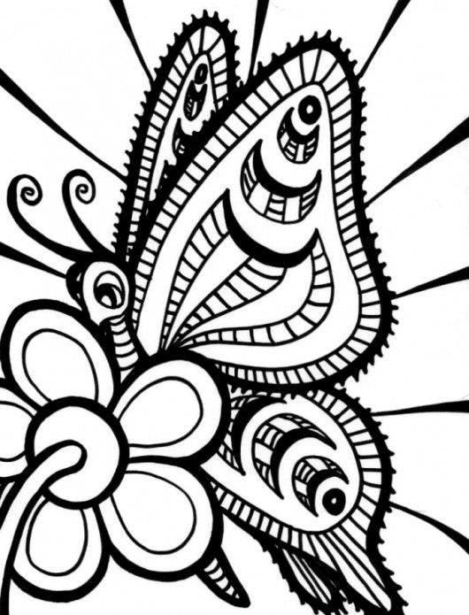 printable butterfly and flower coloring pages for kids - Free And Fun Coloring Pages