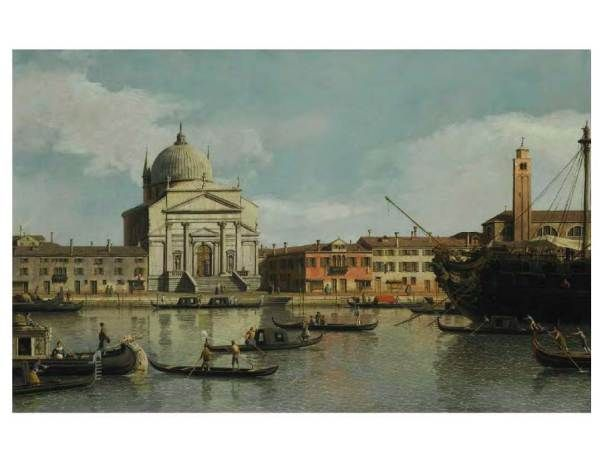 """Giovanni Antonio Canal, called Canaletto, Venice 1697-1768, Venice, A View of the Churches of the Redentore and San Giacomo, with a Moored Man-O-War, Gondolas and Barges, 23"""" x 37"""", estimate $5-7 million"""