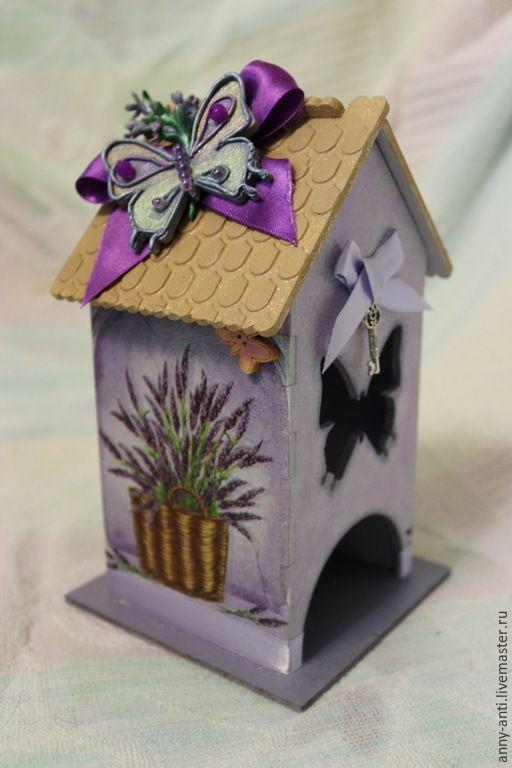 Купить Чайный домик Аромат лаванды - сиреневый, чайный домик декупаж, полимерная глина, бабочки