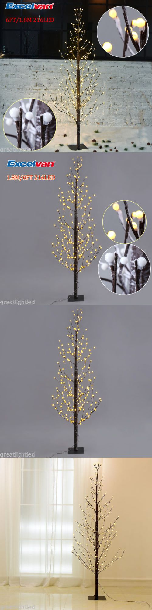 Artificial Christmas Trees 117414: 6Ft Pre-Lit Lighted Twig Branches Tree Lights Lamp 216 Led Frosted Balls Outdoor -> BUY IT NOW ONLY: $35.99 on eBay!