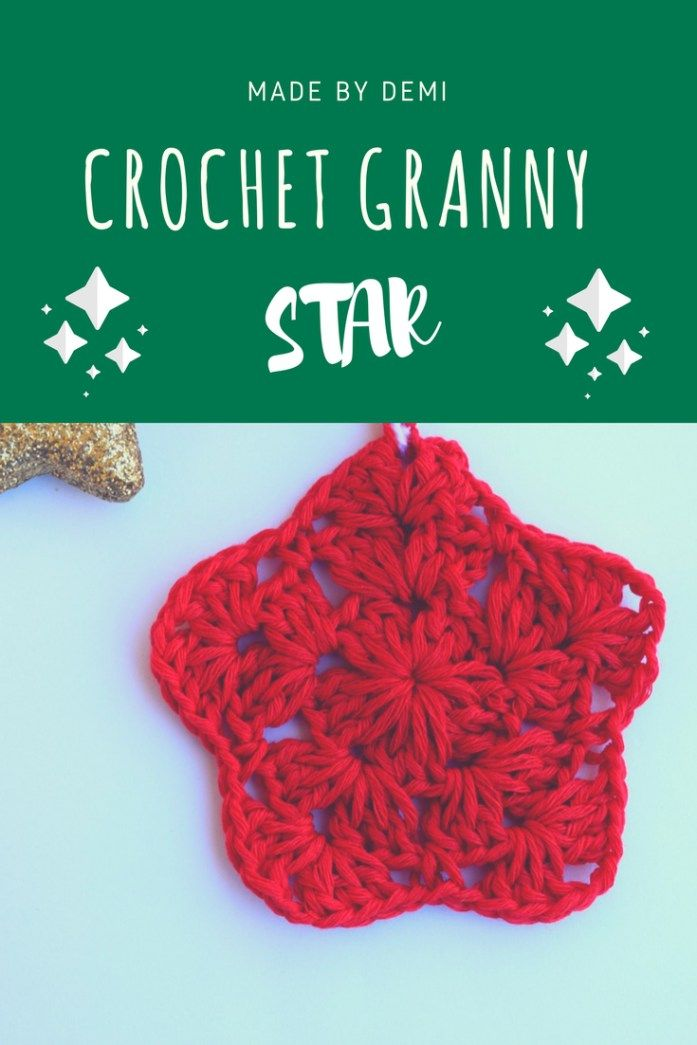 crochet granny star | free pattern | made by demi