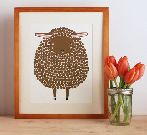 Brown Sheep Illustration Nursery Art, Children Decor - Free US Shipping
