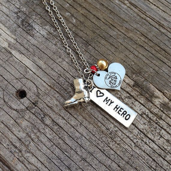 Marines / USMC / Necklace / Marine Wife / Marine Girlfriend / Marine Mom / Marine Sister / silver / beads / charms