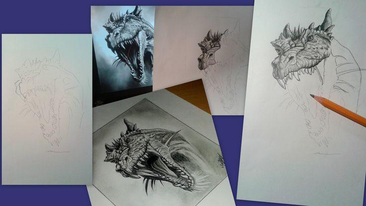 Dragon drawing in progress