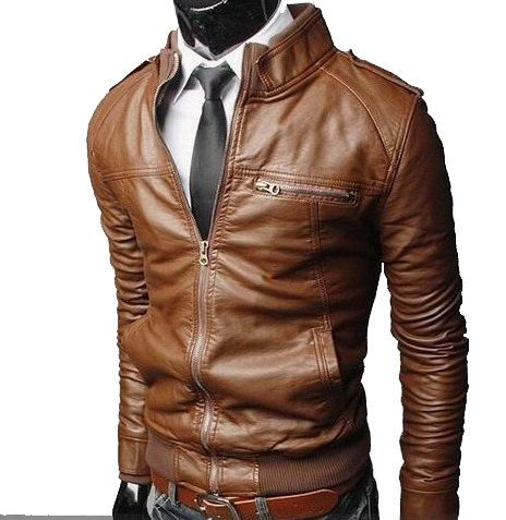 Fashion zipper design leather short slim clothing male casual stand collar  water wash motorcycle leather clothing - Brown Leather Jackets For Men