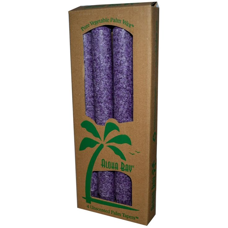 Aloha Bay, Palm Wax Taper Candles, Unscented, Violet, 4 Pack, 9 in (23 cm) Each - iHerb.com