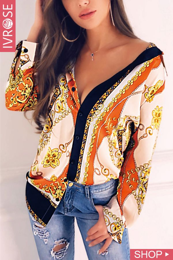 80beb5dd023 Floral And Chain Print Casual Shirt