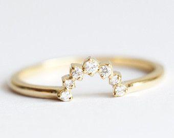 Diamond Crown Ring Matching Diamond Band Diamond by MinimalVS