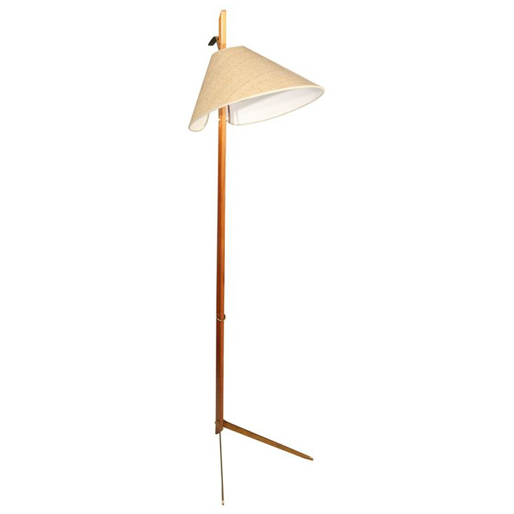 Bronze and wood angled floor lamp by Kalmar, Austrian 1950s.