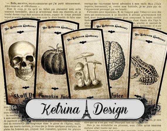 Halloween Apothecary Labels instant download by KetrinaDesign