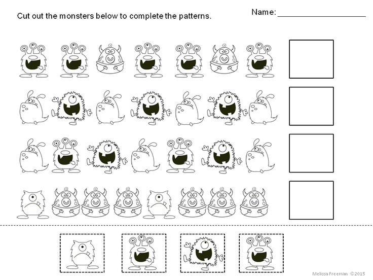 """Use these 3 FREE monster worksheets for patterning practice. There is also a """"Create Your Own Monster"""" page included for fun! Great for K-1 students!"""