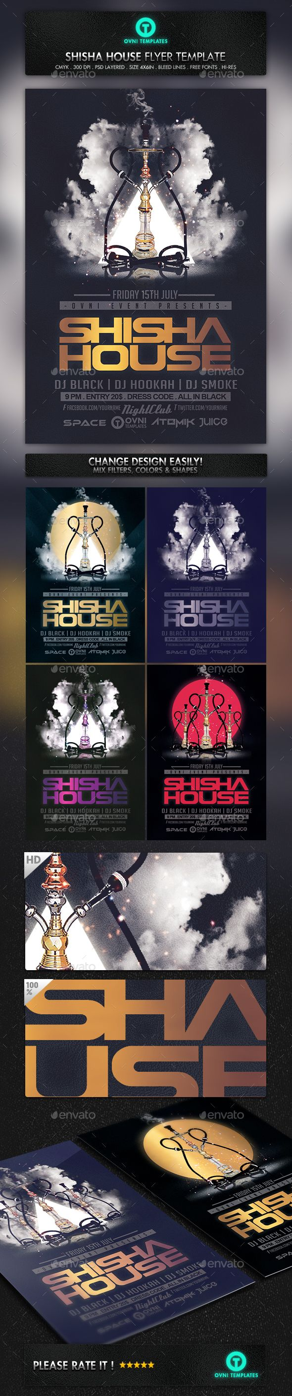 Shisha Hookah Smoke Flyer Template — Photoshop PSD #urban #tabacco • Available here → https://graphicriver.net/item/shisha-hookah-smoke-flyer-template/13857796?ref=pxcr