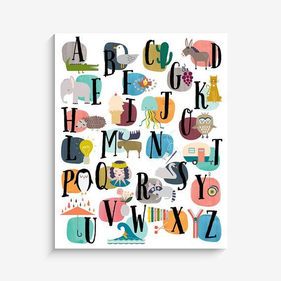 Our original Watercolor Alphabet nursery print, home decor art print is an exclusive Lucy Darling Shop print! This 16x20 art print is securely