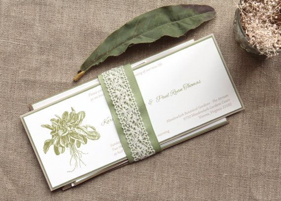Garden Wedding Invitation in Sage Green and Brown - Tea Length (Initial Deposit) on Etsy, $100.00