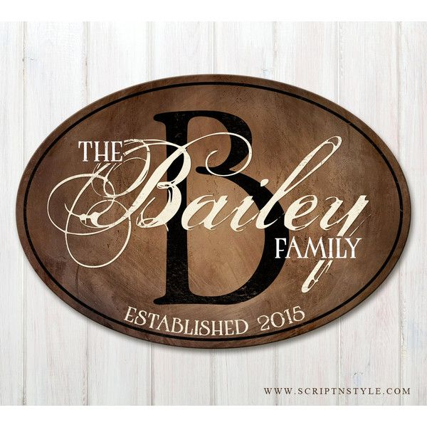 Wood Family Established Sign Oval Personalized Family Name Sign Wood Last Name Plaque With Establi featuring polyvore, home, home decor, wall art, brown, home & living, home décor, wall décor, wall hangings, wooden wall plaques, painted wood signs, wall decals, typography wall art and wooden signs