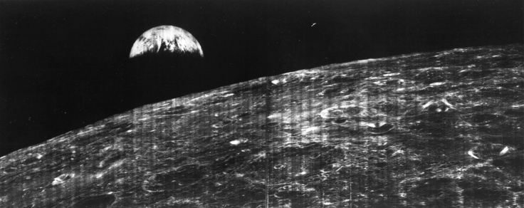 First View of Earth from Moon. 23 Aug. 1966. NASA's Lunar Orbiter 1 sent back the world's first view of Earth from the vicinity of the Moon. The photo was later reprised in color by the Apollo astronauts. Via NASA.: Photos, Picture, August 23, 1966, View, Earth, Space, The Moon