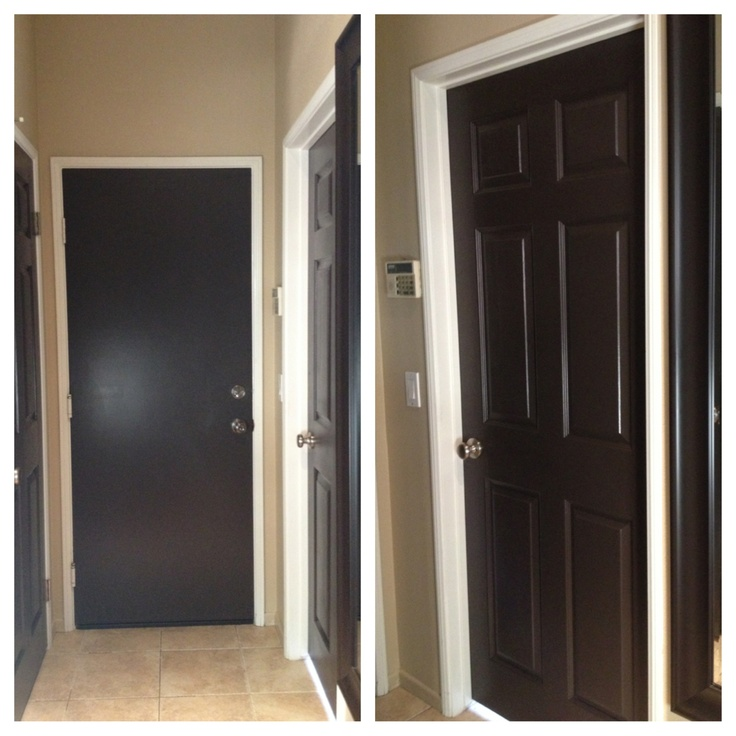 Painted all my white doors dark brown love it black for Dark interior paint colors