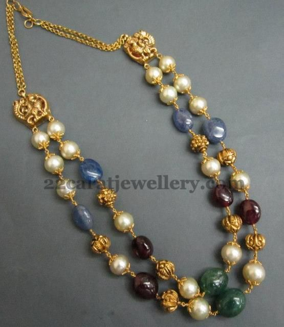 Jewellery Designs: Sapphire Drops Combination Necklace