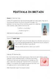English Worksheets: British festivals