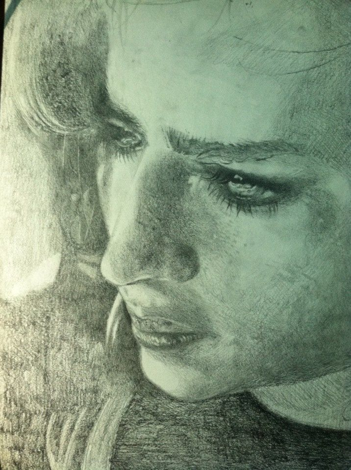 Girl with a pensive look, once again! This time I linked it directly from my website's URL, just to see how Pinterest works. Instead of charcoal, I used graphite sticks with mechanical pencil. The shadow areas took some time to complete. Drawing the human face is almost like drawing a mountain landscape, due to diversity in volume and shape of the curves.