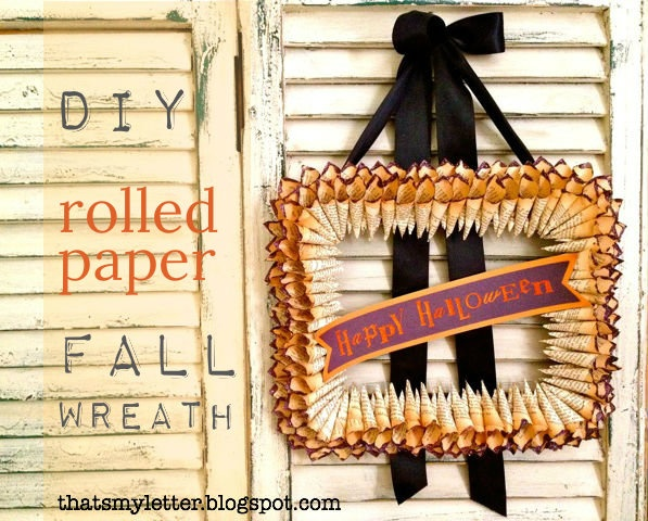 DIY Rolled Paper Wreath: Paper Wreaths, Fall Halloween Paper, Rolled Paper Wreath, Halloween Wreath Awesome, Crafty Book, Crafty Momma, Halloween Wreaths, Book Crafts