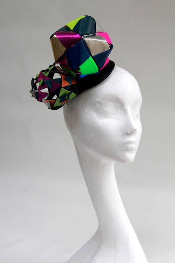 Origami kalidescope headpiece, multicoloured leather lady gaga, cosmic, ascot, the races.