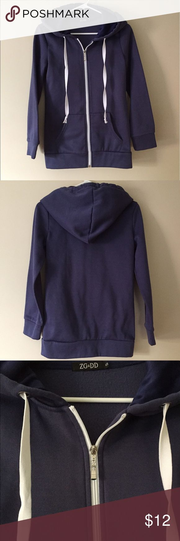 Navy hoodie Women's size small navy blue zip-up hoodie. New without tags. Tops Sweatshirts & Hoodies