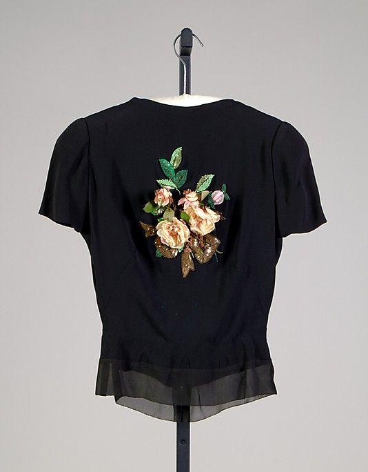 Blouse, Evening House of Schiaparelli (French, 1928–1954) Designer: Elsa Schiaparelli (Italian, 1890–1973) Date: ca. 1938 Culture: French Medium: Silk, beads, sequins, artificial flowers