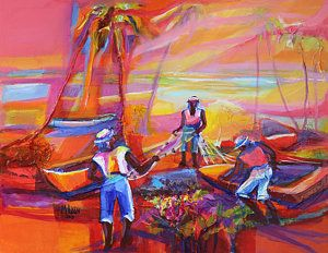 Tobago Painting - Fishers Of Men II by Cynthia McLean
