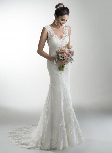 Maggie Sottero MELANIE - Luxusné ľahučké svadobné šaty z nežnej čipky so sexi vykrojeným chrbátom, ktorý decentne zahaľuje hustá čipka.