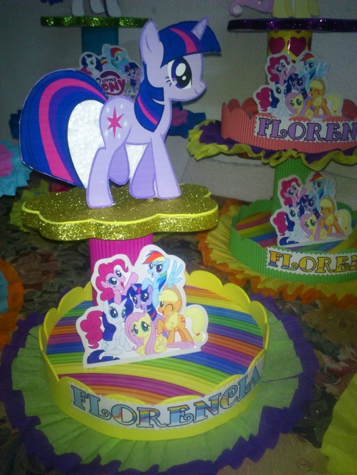 Adornos Para Tortas, Centros De Mesa My Little Pony - $ 95,00 en MercadoLibre