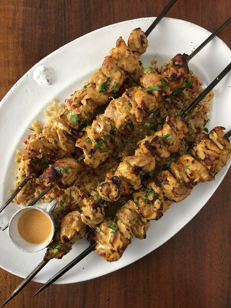 Chicken Kabobs with Spicy Almond Sauce and Cauliflower Rice | Inspiration for Everyday Food Made Marvelous